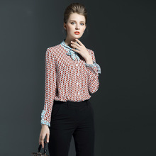 Latest design lady's chiffon special cuff long sleeve blouse