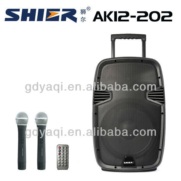 SHIER AK12-202 amazing 12 inch active subwoofer speaker box with USB SD MP3