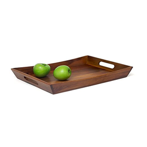 Dark Brown Rectangle Small Wooden Tea/Food/ Fruit/Nuts Serving Trays With Handles For Hotel/Restaurant/Home/Kitchen Wholesale