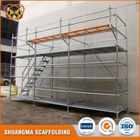 Wedge lock scaffolding for building construction material