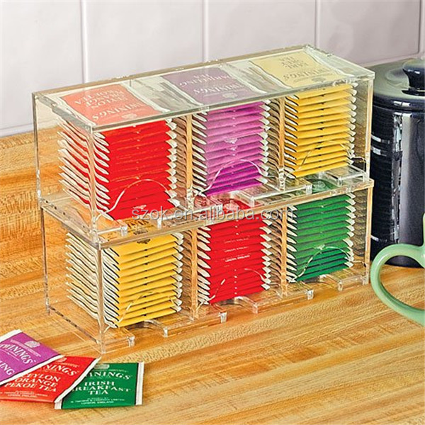 online shopping hong kong 6 position acrylic tea bags and tea storage