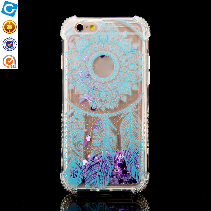 Shock-Resistant Bling Glitter Sparkle Liquid Case Infused with Glitter and Stars Moving Quicksand Hard Case For iPhone 6 6s 7 7p