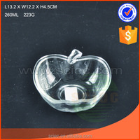 Clear apple shaped glass salad bowl