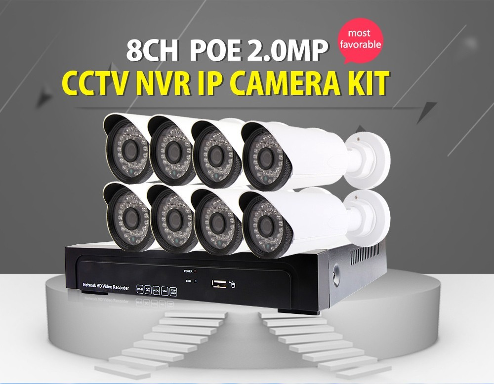 8Pcs 1080P Bullet IP Camera And 8CH POE NVR Recorder 8CH NVR Surveillance System POE