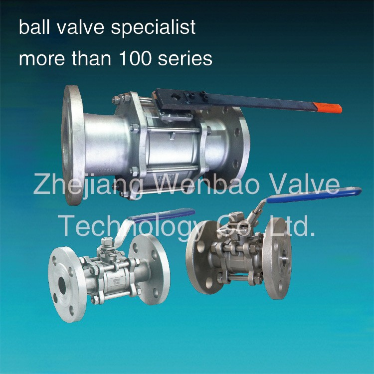 Lever / gear operated type flanged 3 pieces ball valve