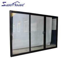 Tempered Glass Sliding Door/Aluminium Frame tempered glass interior Door with Grill Design