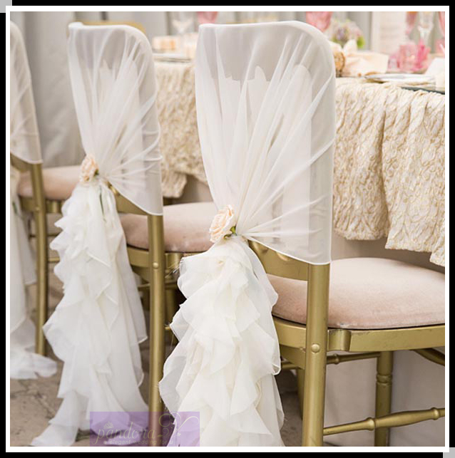 ruffled wedding chair covers chiffon chair sash hood for wedding buy