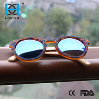 Hot sale Round bamboo sunglasses with colourful mirror lens