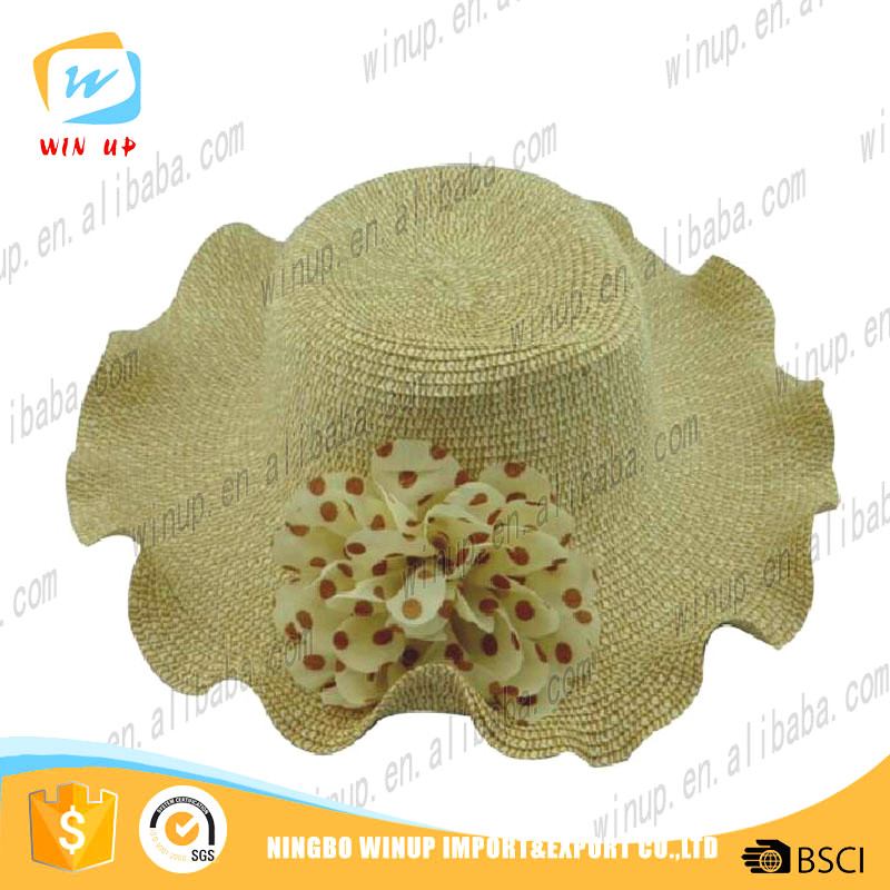 Winup beautiful lovely floppy wave brim straw hat with flower 100% paper straw