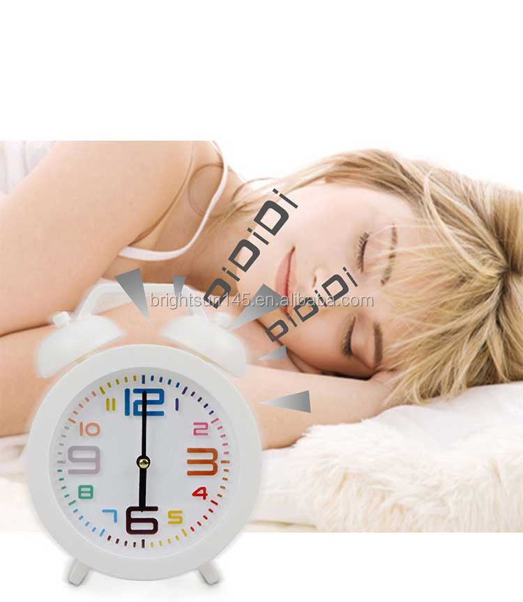 Step Movement Twin Bell Round Shape Funny Desktop Alarm Clock