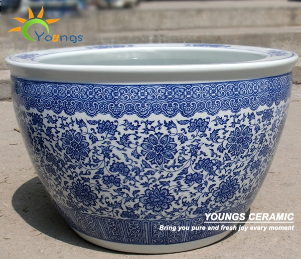 Wholesale indoor and outdoor large chinese blue white ceramic planter pots plant