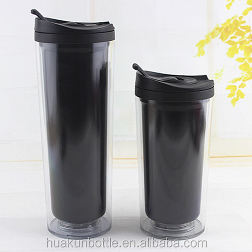 Most selling clear plastic double wall travel coffee mug with lid and paper insert