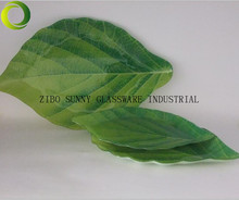 Tempered Glass Dish Plate with Green leaf shape 3pcs in set