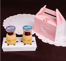 15x8.4x9cm Pink Horse 2 case cup cake box Pudding bottle Sawdust cup box
