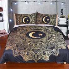 New Design 4 pieces 100% Brushed Polyester Fabric Crescent Pattern Bed Sheeet Set