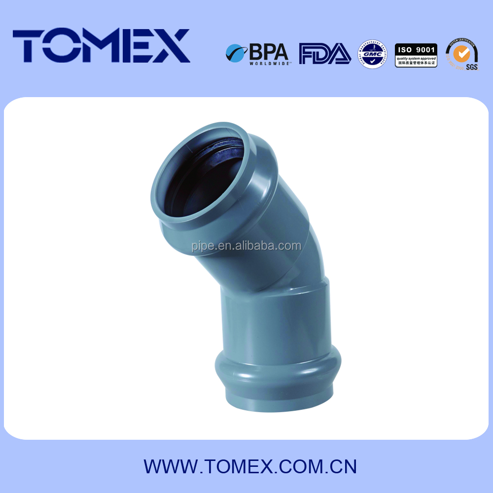 110mm healthy and non-toxic pvc rubber pipe fittings/pvc rubber elbow