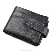 3 folder snap clutch geniune leather wallet for men with removable zip bag