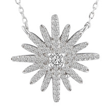 Newest Design Sterling Silver Unique Snowflake Necklace Fashion Christmas Jewelry