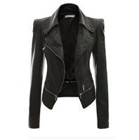 2019 Motorcycle Leather Spring And Autumn Woman ladies Stylish Faux Leather Power Shoulder formal Zipper Casual Jacket Factory
