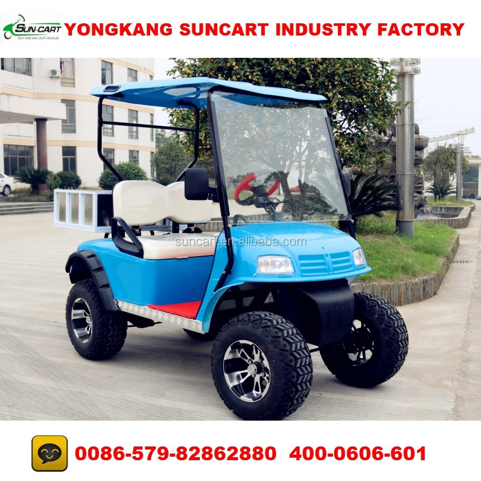 ezgo blue color electric golf cart,2 seater cheap golf cart for sale,hunting golf cart with rear box