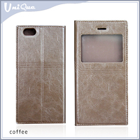 Multiple voltage with one window and magnet leather case for iphone 6