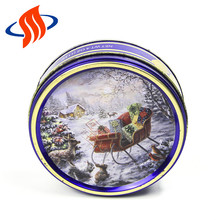 wholesale small snowscape printing tin condom storage box custom for cookie storage