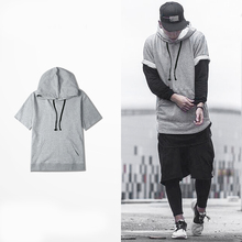 High quality fashion design streetwear 100% cotton men short sleeve t shirt with hoody