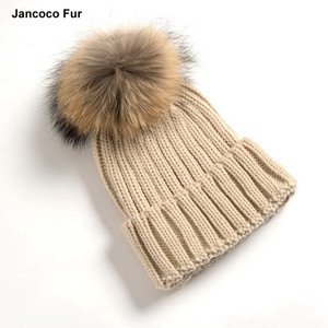 Beautiful Natural Fur Winter Warm Hat Pom Beanie Hats Wholesale
