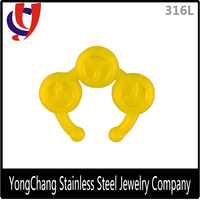 Acrylic yellow color fake nose non piercing ring