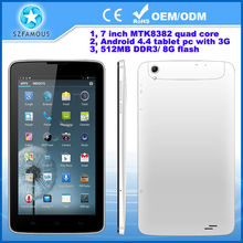 Factory price 7 inch MTK Quad core 3G phone call 5 point touch 1024*600 android 4.4 tablet pc with 3D Graph Engine