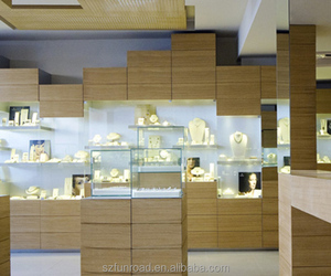 Funroad unique wooden mirrored jewelry display cabinet showcase with led light