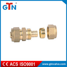 China high quality supplier copper bathroom fitting double nipple brass yellow ART026H pex al pex forged fitting