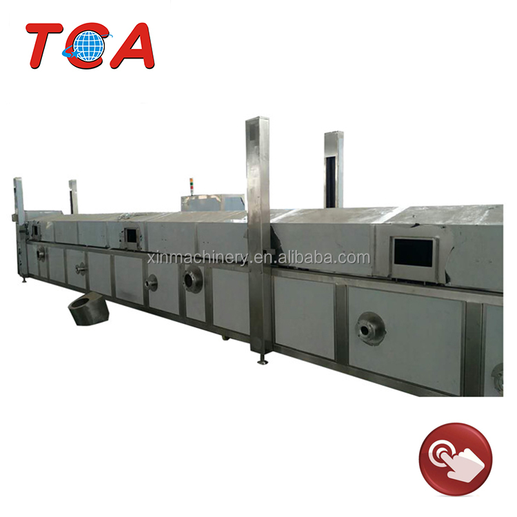 800kg/h industrial peanut continuous belt fryer using gas