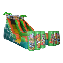 Blow up slide, dry slide, Double Lane Tiki Island jumbo water slide inflatable for sale
