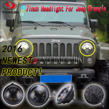 Car accessories led headlamps with semi-ring angel eyes for jeep wrangler offroad 4x4 ATV