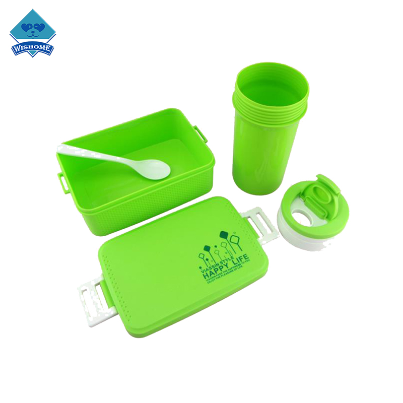 3-Pcs Lunch Box With Cup Spoon Set Portable Outdoor Tableware Set
