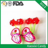 custom special ordered red rose-shaped hard candy with peppermint flavor