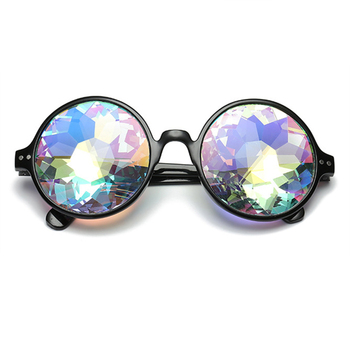 Round Kaleidoscope Glasses Rave Festival Men Women Holographic Kaleidoscope Party Retro Rave Festival Sunglasses