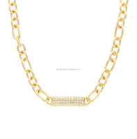 ID Gold Sparkle - Crystal ID Bar and Stainless Steel Chain Link Necklace