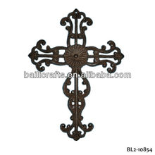 Wholesale high quality home decor metal Christian church art metal hanging wall cross art