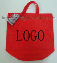 2014 hot selling non woven foldable reusable recyclable cheap print red handheld shopping bag for wholesale and promotion