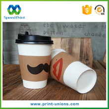 Custom printed logo disposable paper coffee cup sleeve