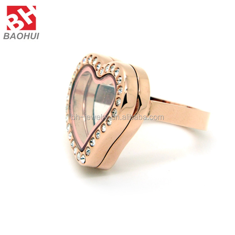 24.5*21MM Rose Gold Heart Floating Locket Stainless Steel Jewelry Wholesale Adjustable Locket Rings