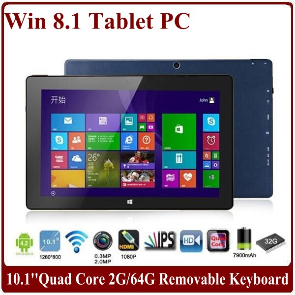10.1 inch IPS Capacitive Quad Core Tablets 1.5Ghz 2G/32G SSD WIFI Two Camera for Windows 8 Tablet PC with Removable Keyboard