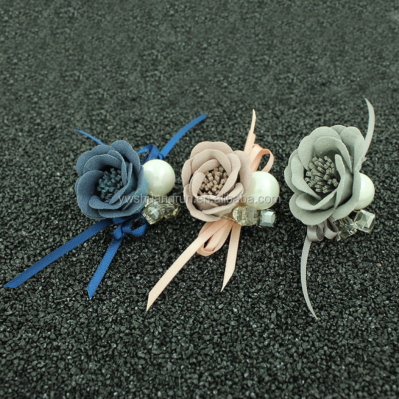 Artificial Rose Lapel Pins With Lace Ribbon Women Floral Corsage