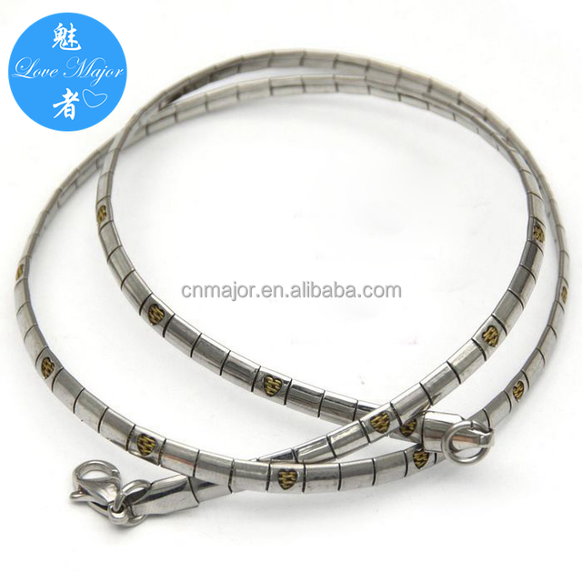 Fashion Stainless Steel Jewelry Gold Heart Design Flat Snake Chain Choker Necklace for Women