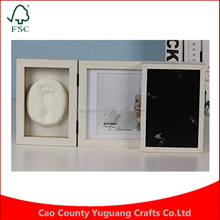 Manufacture price Best Gift for Baby Foldable Soft Clay Handprint Footprint DIY Inkpad Wood Picture Frame