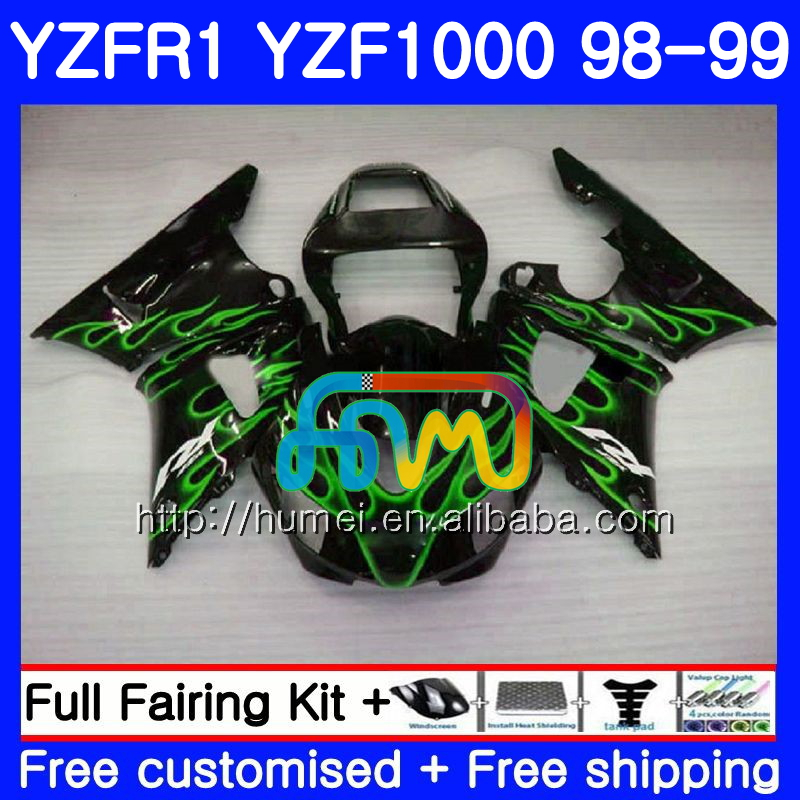 Bodywork For YAMAHA YZF green flames 1000 <strong>R</strong> 1 YZF-R1 1998 1999 Body 97HM47 YZF1000 YZFR1 98 99 YZF-1000 YZF R1 98 99 Fairing kit