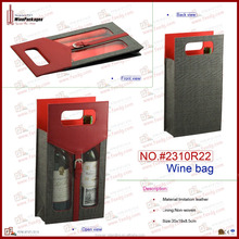 wholesale double bottle non-woven leather wine tote bag with clear PVC