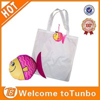 Cheap fish pocket white shopper foldable polyester eco-friendly kids shopping bag